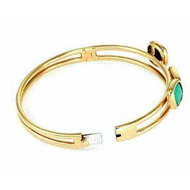 Roberto Coin Diamond Black & Green Jade 18k Rose Gold Fancy Bracelet Bangle