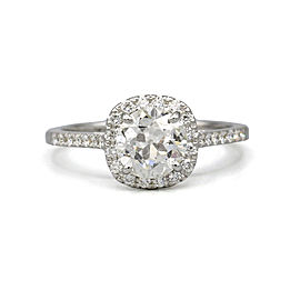 1.14 ct GIA Round Brilliant Diamond Halo Engagement Ring in 18k White Gold