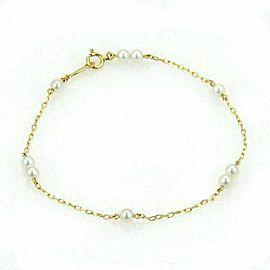 Mikimoto Akoya 3.5mm Pearls Chain Link 14k Yellow Gold Bracelet