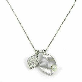 Mikimoto Diamond Akoya Pearl 18k White Gold Double Leaf Pendant Necklace