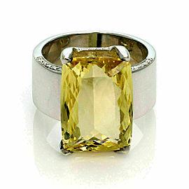 H.Stern Yellow Beryl & Diamond 18k White Gold Large Rectangular Ring