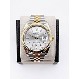 BRAND NEW Rolex 126333 Datejust 41 Silver 18K Yellow Gold Steel Box Paper 2021