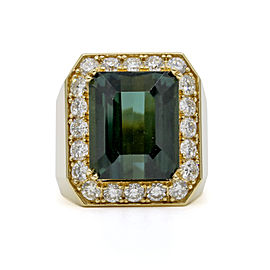 Green Indicolite Tourmalie and Diamond Statement Ring in 18k Yellow Gold