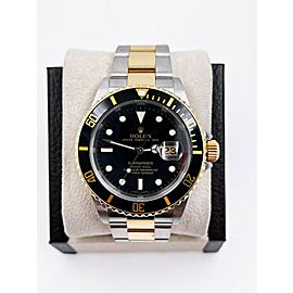 Rolex Submariner 16613 Black Dial 18K Yellow Gold Stainless Steel Box Paper 2007