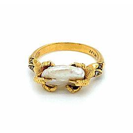 Carrera y Carrera Diamond Pearl 18k Yellow Gold Claw Ring