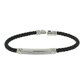 John Hardy Classic 4MM Diamond Station Sterling Silver Leather Bracelet