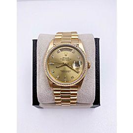 Rolex President Day Date 18238 18K Yellow Gold Original Champagne Diamond Dial
