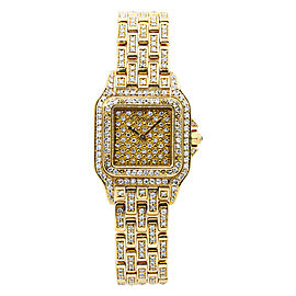 Cartier Panthere 8057917 Factory Diamond 18K Yellow Gold Ladies Watch 22mm