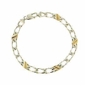 "Tiffany & Co 18K Yellow Gold 925 Silver Figaro Chain Bracelet Size 7.5"" » U211"