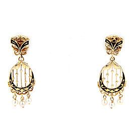 Pearls & Enamel Dangle 14k Yellow Gold Earrings