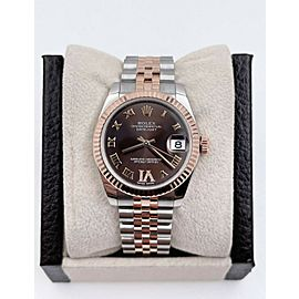Rolex Datejust Midsize 178271 Chocolate 31mm 18K Rose Gold Stainless Box Paper
