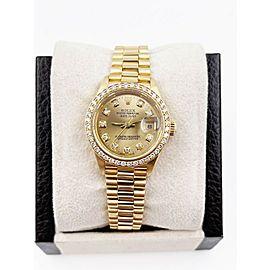 Rolex Ladies President 69178 Diamond Dial Diamond Bezel 18K Yellow Gold