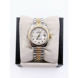 Rolex Ladies Datejust 179173 Ivory Jubilee Dial 18K Yellow Gold Steel Box Paper
