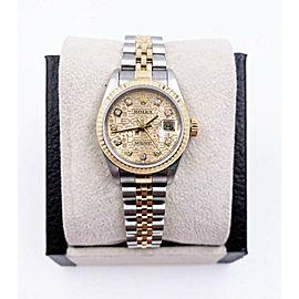 Rolex Ladies Datejust 79173 Jubilee Diamond Dial 18K Yellow Gold Steel Box Paper