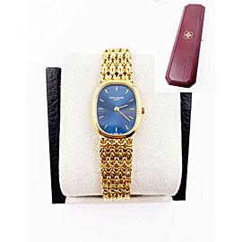 Patek Ladies Golden Ellipse 4764 Blue Dial 18K Yellow Gold with Box