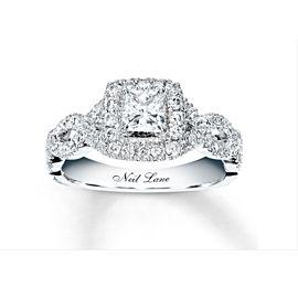 Neil Lane Princess Diamond Engagement Ring Twisted Band 1.00 tcw 14k WG SZ 7.25
