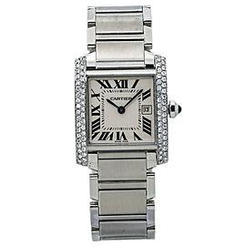 Cartier Tank Francaise 2465 VS Diamond Bezel Ladies Quartz Watch 25MM