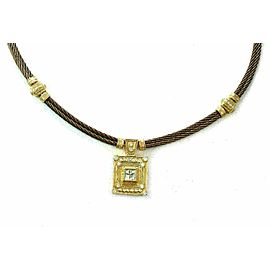 Charriol Diamond 18k Gold & Steel Pendant Double Cable Wire Necklace