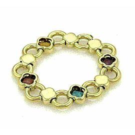 Faraone Topaz & Amethyst 18k Yellow Gold Fancy Floral Bracelet