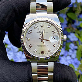 Rolex 115234 Date Silver Diamond Dial Watch BRAND NEW