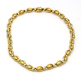 Designer Signed Brushed Gold Bead Chain Necklace in 18k Yellow Gold