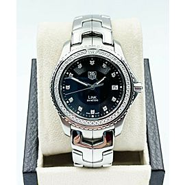 Tag Heuer Link WJ1117-0 Black Diamond Dial Bezel Stainless Steel Box Papers