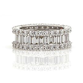 4.73 ct Baguette and Round Diamond Anniversary Eternity Band in 18k White Gold