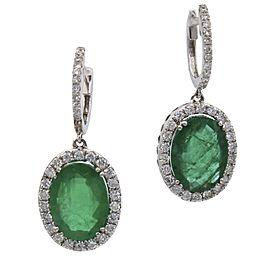8.50 carat Colombian Emerald and Diamond Dangle Earrings in 18k White Gold
