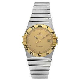 Omega Constellation Unisex Stainless Steel Gold 32MM Quartz Date Watch