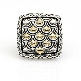 John Hardy Square Naga Statement Ring in Sterling Silver and 18k Yellow Gold
