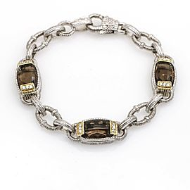 Judith Ripka Two Smoky Quartz Diamond Link Bracelet in Sterling Silver 18k Gold