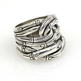 John Hardy Overlapping Bamboo Band Ring in Sterling Silver