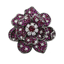 6.50 ct Ruby and Diamond Rose Statement Ring in 18k White Gold