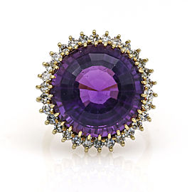 H Stern Amethyst Diamond Halo Cocktail Ring in 18k Yellow Gold