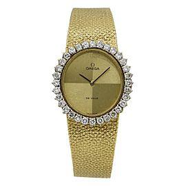 Omega DeVille 18k Gold Diamond Ladies Vintage Mechanical Watch