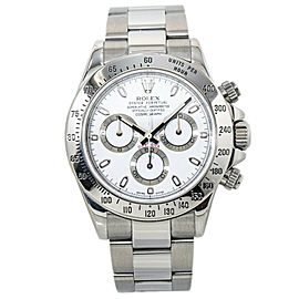 Rolex Daytona 116520 Cosmograph Engraved Bezel New Buckle White Dial Watch 40MM