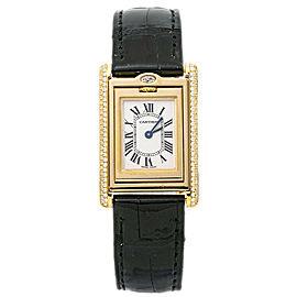 Cartier Tank Basculante 2480 Factory Diamond 18K Gold Ladies 22mm