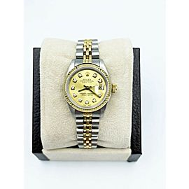 Rolex Ladies Datejust 69173 Champagne Diamond Dial 18K Yellow Gold Stainless