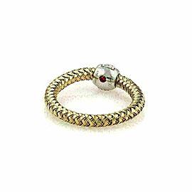 Roberto Coin Primavera Diamond 18k Rose & White Gold Band Ring Size 6.25