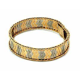 Estate 18k Two Tone Gold 14mm Wide Fancy Design Bracelet