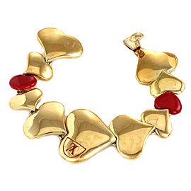 Louis Vuitton Gold Plated Red Enamel Heart Link Bracelet