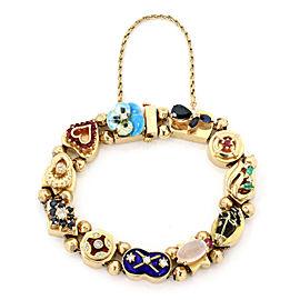 Multicolor Gemstone 14k Yellow Gold 11 Slide Charms Bracelet