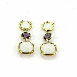 White Agate & Amethyst 18k Rose Gold Dangle Earrings