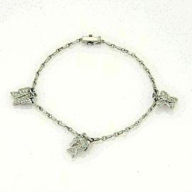 Platinum & Diamond Estate 3D Triple Charm Double Chain Link Bracelet