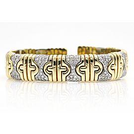 Women's Diamond Parentesi 18k Yellow Gold Cuff Bangle Bracelet