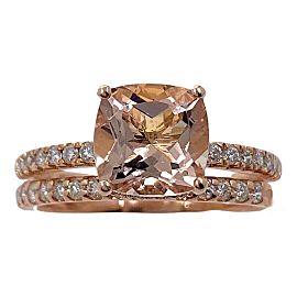 14K Rose Gold 3.15 tcw Cushion Cut Morganite Diamond Wedding Engagement Ring Set
