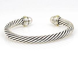 David Yurman Cable Classics Pearl Cuff Bangle Bracelet Sterling Silver 14k Gold