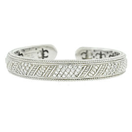 Judith Ripka Sterling Silver CZ Cuff Bangle Bracelet