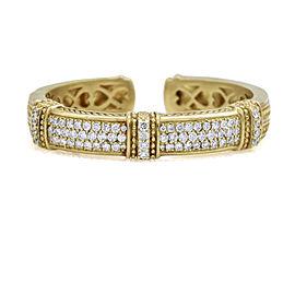 Judith Ripka 18k Yellow Gold Diamond Hinged Cuff Bracelet