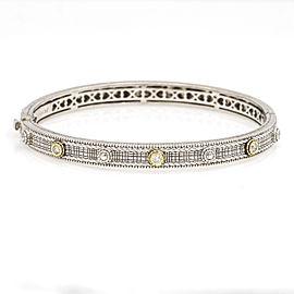 Judith Ripka Sterling Silver 18k Yellow Gold Hinged Bangle Bracelet